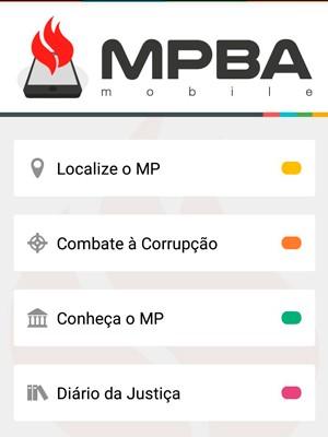 Aplicativo MPBA Mobile do Ministério Público da Bahia já está disponível para a população baiana nas plataformas Android e IOS (Foto: Reprodução)