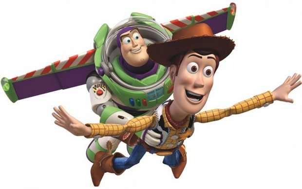 Os personagens dos filmes 'Toy Story', Buzz Lightyear e Woody.
