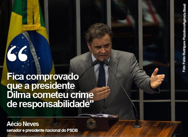 Aécio: Fica comprovado que a presidente Dilma cometeu crime de responsabilidade (Foto: G1)