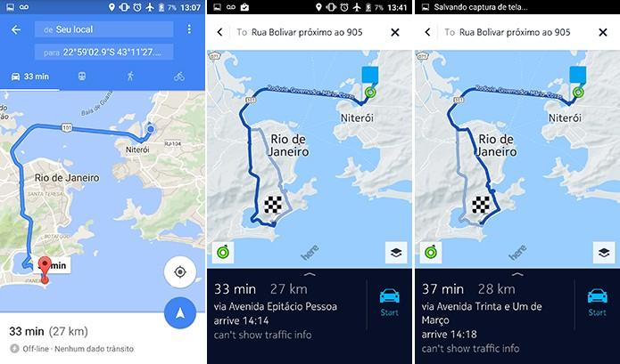 Here Maps é capaz de apontar caminhos alternativos ao usuário (Foto: Reprodução/Elson de Souza)
