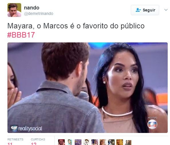 Reação de Mayara do BBB 17 vira meme (Foto: Reprodução/Twitter)