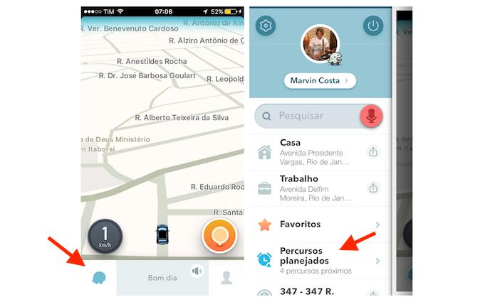 Acessando a opção Percursos Planejados do Waze para iPhone (Foto: Reprodução/Marvin Costa)