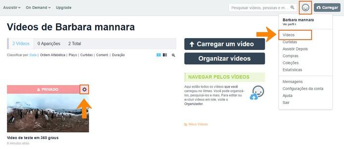 Acesse as configurações do seu vídeo em 360 graus (Foto: Reprodução/Barbara Mannara)