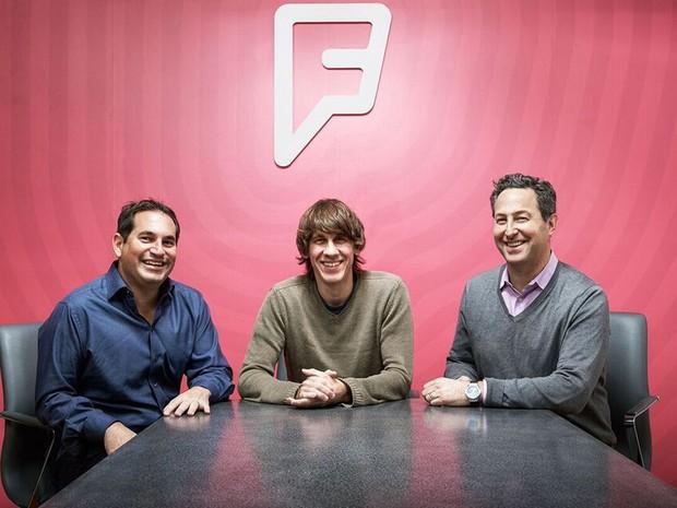 Steven Rosenblatt, presidente do Foursquare, Dennis Crowley, cofundador e presidente do Conselho, e Jeff Glueck, presidente-executivo. (Foto: Divulgação/Foursquare)