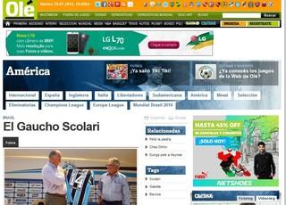 Jornal argentino Olé noticia contratação de Felipão pelo Grêmio (Foto: Reprodução)