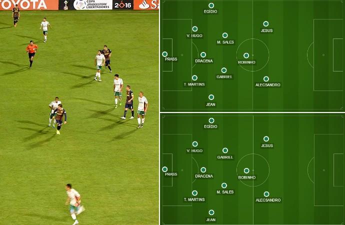 Pressão do Rosario pelo lado esquerdo da defesa fez Cuca inverter Gabriel de lado com Matheus Sales (Foto: GloboEsporte.com)