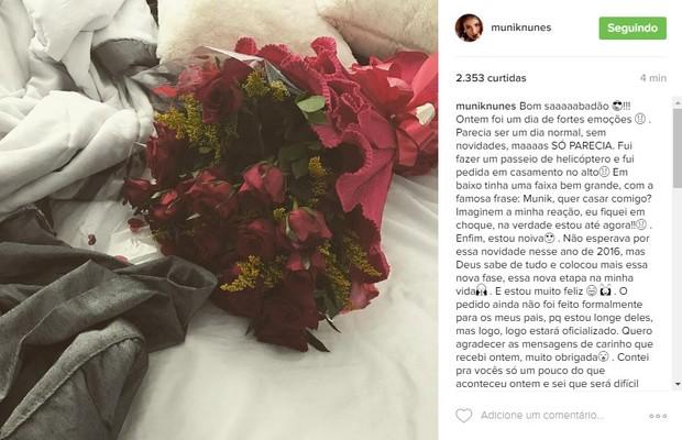 Ex-BBB Munik revela que foi pedida em casamento (Foto: Reprodução/Instagram)