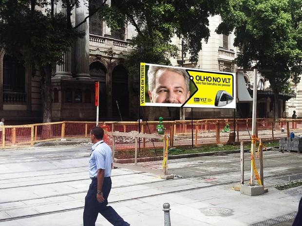 Campanha usará outdoor para conscientizar pedestres e motoristas (Foto: Divulgação / Secretaria Municipal de Transportes do Rio)