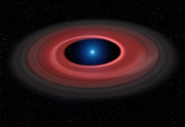 O disco formado por restos de um asteroide destruído perto de uma estrela anã-branca (ilustração) (Foto: Mark Garlick/Universidade de Warwick/ESO)