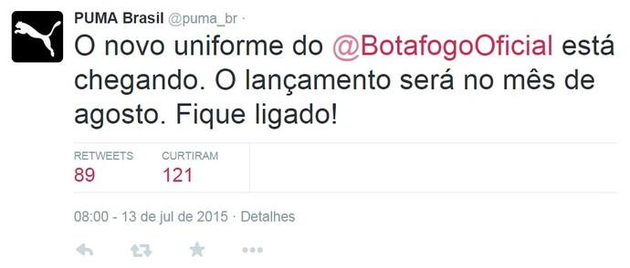 Puma anuncia novo uniforme do Botafogo (Foto: Reprodução / Twitter)