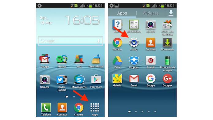 Acessando as configurações do Android no Galaxy Gran Duos (Foto: Reprodução/Marvin Costa)