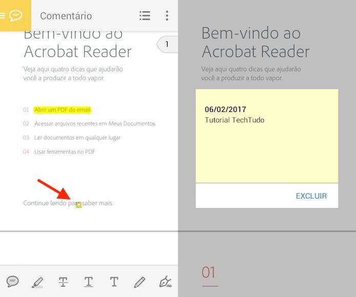 Ação para abrir uma anotação em um documento PDF no Adobe Reader (Foto: Reprodução/Marvin Costa)