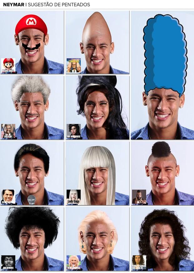 Mosaico penteados Neymar (Foto: Reprodução / Facebook)