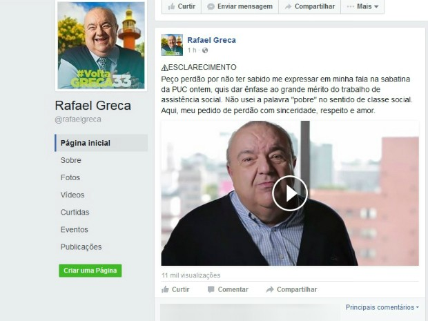 Rafael Greca (PMN) pediu desculpas no Facebook nesta sexta-feira (23) (Foto: Reprodução / Facebook)