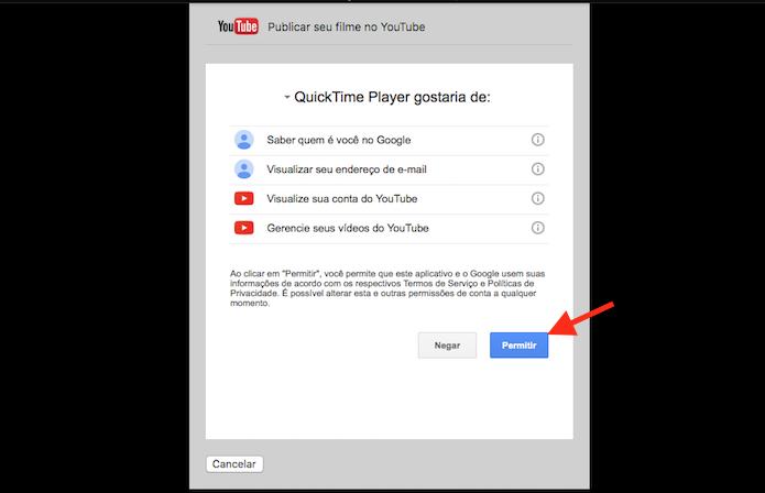 Permitindo acesso do Quicktime a uma conta do YouTube no Mac OS (Foto: Reprodução/Marvin Costa)