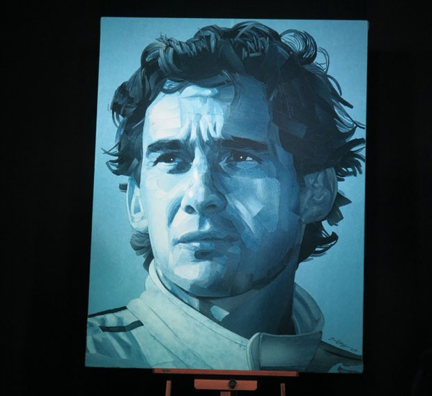 Ian Berry cria retrato de Ayrton Senna com retalhos de jeans (Foto: Divulgação)