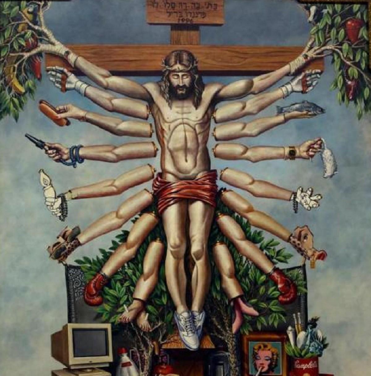 """""""Cruzando Jesus Cristo com o Deus Shiva"""", obra de Fernando Baril (Foto: Divulgação)"""