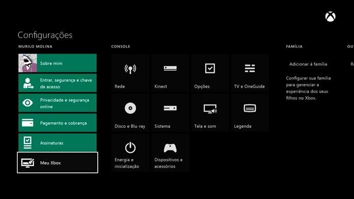 Selecione Meu Xbox (Foto: Reprodução/Murilo Molina)