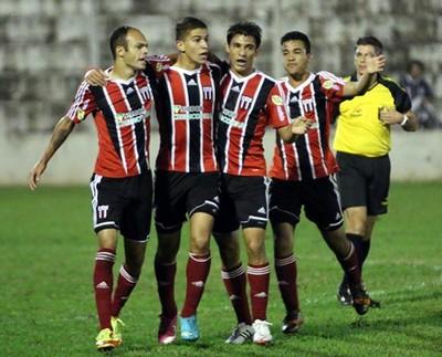 Jogadores do Botafogo-SP comemora gol contra o Barbarense (Foto: João Valdevite/Ag. Botafogo)