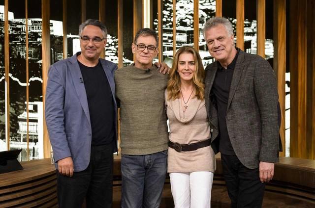 Daniel Souza, Victor Lopes, Maitê Proença gravam 'Conversa com Bial' (Foto: Ramon Vasconcellos/TV Globo)