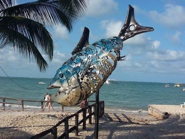 Peixe feito de metal por Valmir Reginaldo (Foto: Valmir Reginaldo/ Arquivo Pessoal)