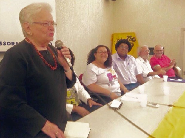 Luiza Erundina participou de ato do PSOL para anunciar sua filiação ao partido (Foto: Reprodução/Facebook/Luiza Erundina)