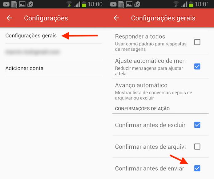 Opção para ativar a confirmação de envio no Gmail para Android (Foto: Reprodução/Marvin Costa)