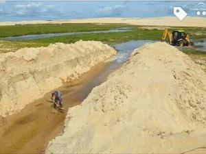 Canais levam água para a Lagoa do Portinho, no litoral do Piauí (Foto: Tibério Nunes/Arquivo Pessoal)