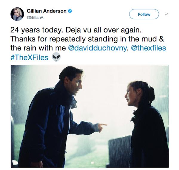 A homenagem de Gillian Anderson aos 24 anos de Arquivo X (Foto: Twitter)