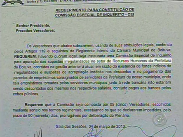 Ofício encaminhado pelo prefeito de Boituva à Câmara de Vereadores aponta indícios de irregularidades no setor de RH. (Foto: Reprodução TV TEM)