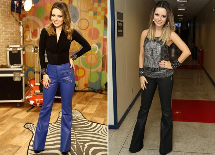 Para parecer mais alta, a cantora também aposta em calças flare, com boca mais larga (Foto: Gshow/TV Globo)