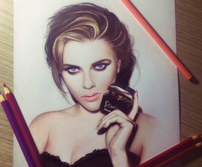 690Mistura com Rodaika Inspiração Pedro Lopes desenho ilustração Scarlett Johansson (Foto: Arquivo Pessoal)