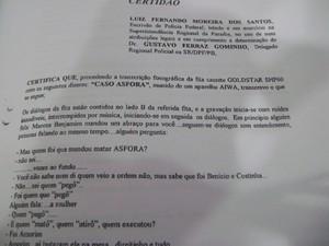 Foto do documento com a transcrição do Caso Asfora  (Foto: Taiguara Rangel/G1)