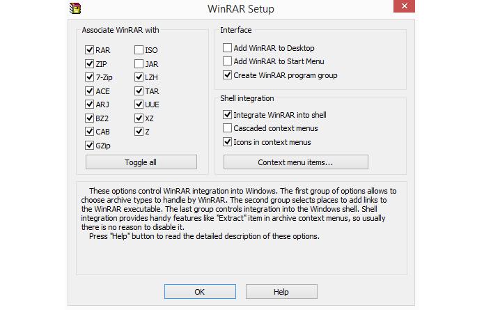 Programa permite customizar com quais formatos vai trabalhar (Foto: Reprodução/WinRAR)