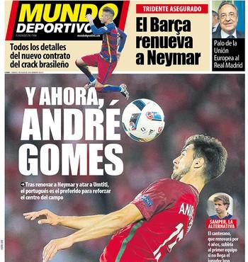 Jornal André Gomes Barcelona (Foto: Reprodução / Mundo Deportivo)