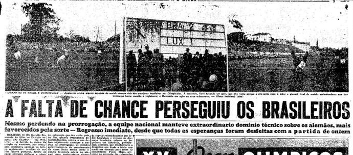 """""""O Globo"""" lamentava a derrota do time brasileiro para a Alemanha (Foto: Reprodução jornal """"O Globo"""")"""