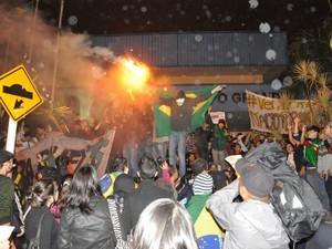Protesto em Câmara Municipal de Campo Grande (Foto: Fabiano Arruda / G1 MS)