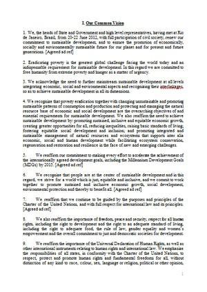 Rascunho do documento final da Rio+20, que foi apresentado neste sábado (16) aos delegados (Foto: Reprodução)