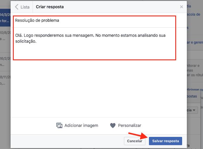 Opção para definir uma nova mensagem padrão em uma página do Facebook (Foto: Reprodução/Marvin Costa)