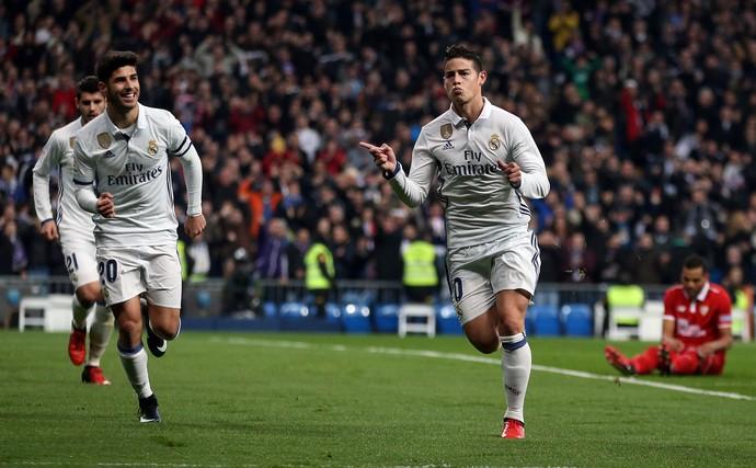 James Rodríguez Real Madrid x Sevilla (Foto: Juan Medina/Reuters)