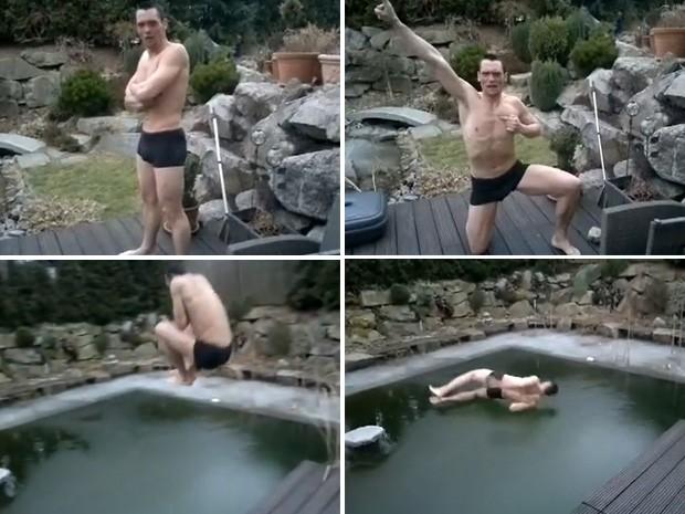 Homem pulou na piscina antes de verificar se ela não estava completamente congelada (Foto: Reprodução)