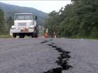 Rodovia SC-427 passa por obras emergenciais para tapar rachaduras