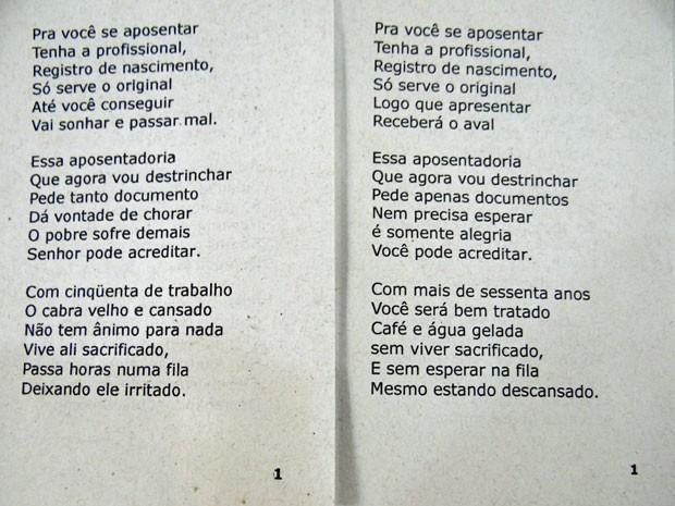 Ao lado esquerdo, a primeira página do cordel original. À direita, o mesmo trecho com modificações. (Foto: Luna Markman/ G1)