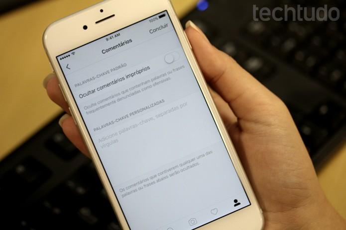 Usuário poderá criar lista de palavras proibidas em comentários nas suas fotos do Instagram (Foto: Camila Peres / TechTudo)