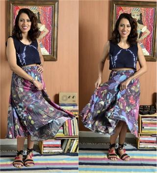 Carla Lemos, do Modices, adora reciclar roupas: Transformei vestido em saia e blusa em croppet top para o verão (Foto: Roberto Texeira/EGO)