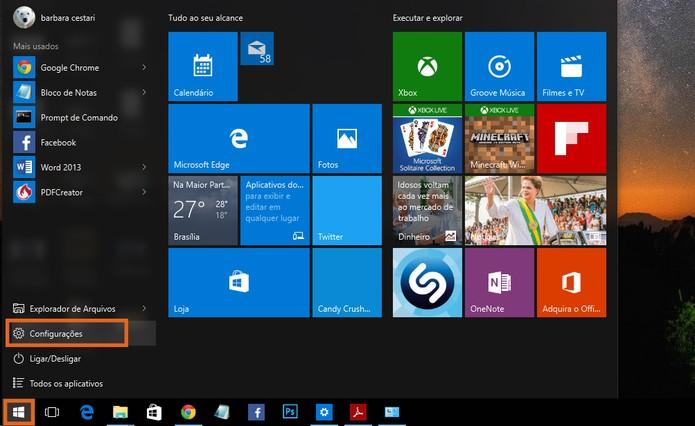 Acesse as configurações do Windows 10 pelo botão de iniciar (Foto: Reprodução/Barbara Mannara)