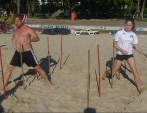 Circuito de praia - pai e filha (Foto: Luiz Cláudio Amaral / Globoesporte.com)