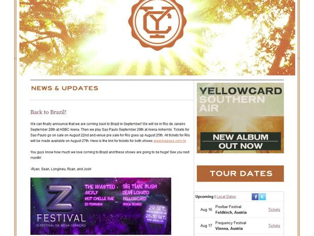 Postagem desta quarta-feira (15), no site da banda Yellowcard, anunciando show no Z Festival, no Brasil (Foto: Reprodução/Site oficial Yellowcard)