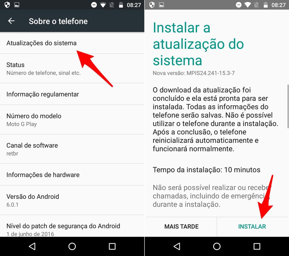Atualize o Android do Moto G4 Play (Foto: Reprodução/Lucas Mendes)