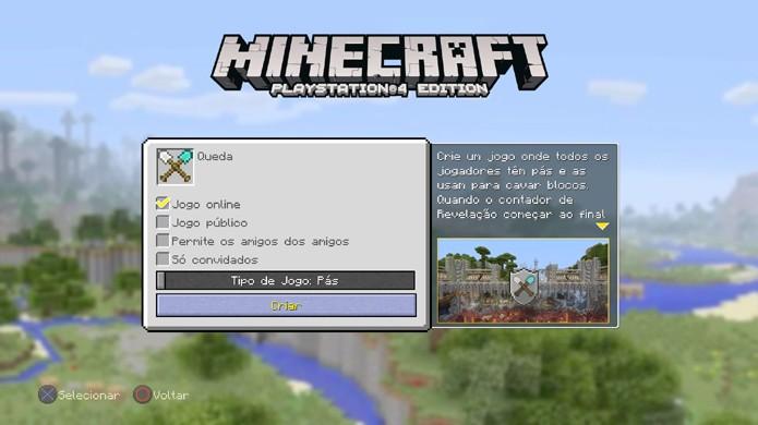 No minigame Queda de Minecraft as telas para criar sala ou entrar são quase iguais, com a diferença de que você pode escolher quem entra em sua sala (Foto: Reprodução/Rafael Monteiro)